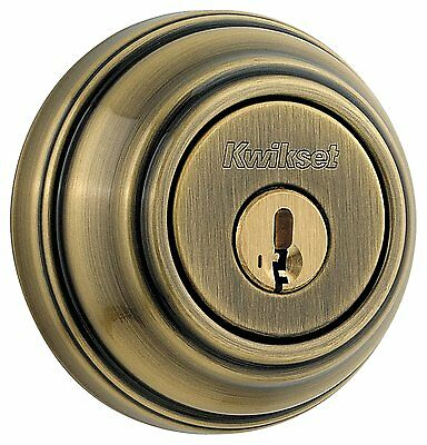 Kwikset 980 Single Cylinder Deadbolt Door Lock featuring SmartKey Antique Brass