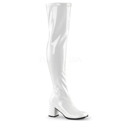 Thigh High 60s 70s Hippie Burlesque GoGo Over The Knee White Boots