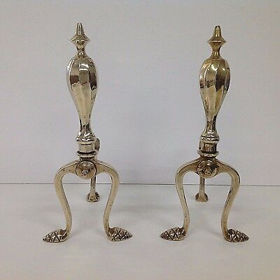 Elegant Pair Of Antique Victorian Brass Fire Dogs / Andirons
