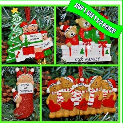 Personalised Christmas / XMAS Tree Bauble Ornament Gift 3, 4, 5 Family