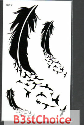 Small Fresh  feather birds Face Temporary Tattoo Stickers Body Art
