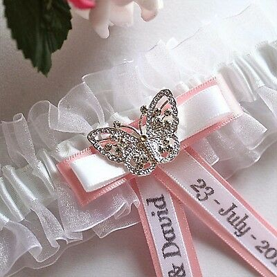 Personalised White Wedding Garters. Butterfly/choice Of Trim Colour. Gift Boxed