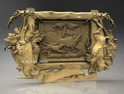 3D Stl Model Relief Artcam Cnc Decor Pano Frame Boar Hunting