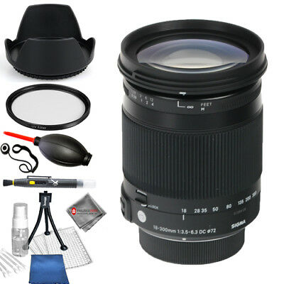 Sigma 18-300mm f/3.5-6.3 DC MACRO OS HSM Contemporary (Canon EF) Starter Kit New