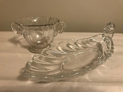 "Heisey Glass 2 pc Handled Leaf Shaped Dish 9 1/2"" and Sugar Bowl"