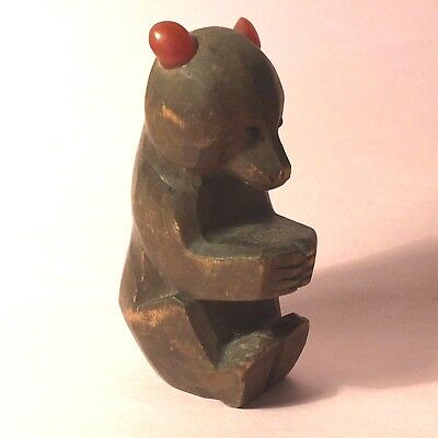 Vintage wooden Black Forest Bear with plastic or lucite ears - sitting - K7