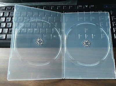 New MegaDisc Premium 7mm Slim DVD Case Double Super Clear 2 Discs Box 10 Pk