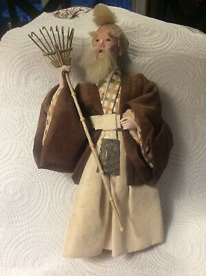 "Antique Vintage Japanese GoFun Ningyo Hima Kimekomi Doll, 10"" tall with Rake"