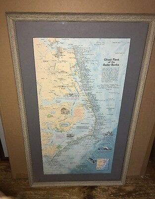 Nautical Map of Ghost Fleet of the Outer Banks~Nicely Framed and Matted 1970