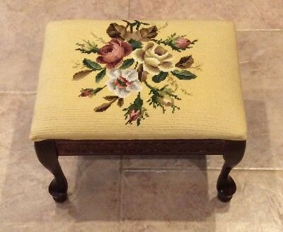 Vintage Wool Needle Point Yellow Floral Queen Ann Rectangle Footstool