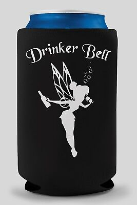 Funny Beer Koozie. **** black with white graphic**** drinkerbell can cooler