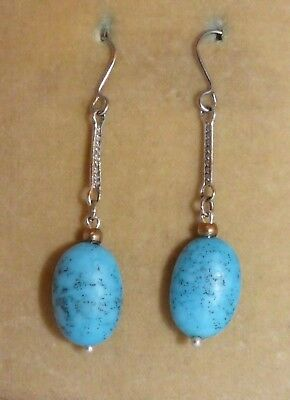 1930s blue speckled glass bead earrings - beads from broken French necklace