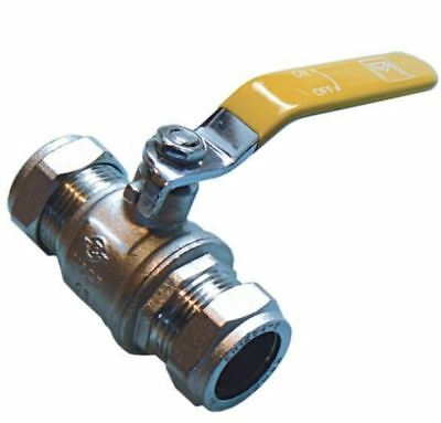 28mm Lever Ball Valve - Yellow Handle - PACK OF 5