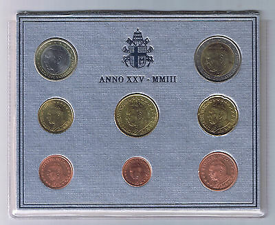 2003 Vatican City Mint Set 8 Coins 1 cent to 2 euro Stato Citta del Vaticano UNC