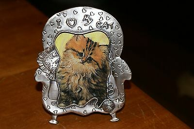 """Sixtrees USA I Heart My Cat 3D PEWTER PICTURE FRAME 2""""X3"""" IN ORIG.BOX"""