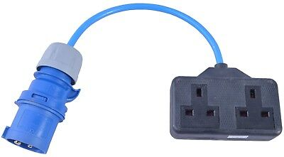 Generator Fly Lead 16 AMP Plug to Twin 13 AMP Socket  240V 16 AMP to 2 Gang 230V
