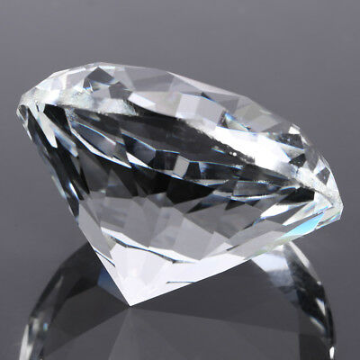 "60mm/2.36"" Large Glass Crystal Diamond Shaped Paperweight Clear Jewel Home Decor"