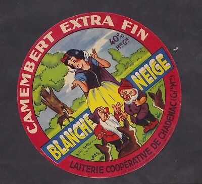 Ancienne étiquette Fromage France BN30531 Camembert Blanche Neige Charentes