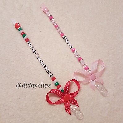 """*CHRISTMAS* Dummy Clips """"ANY NAME"""" Soother/Soother Clip"""