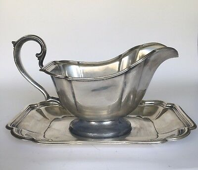 Vintage Chadwick 1513 Silverplate Gravy Boat With Attached Underplate