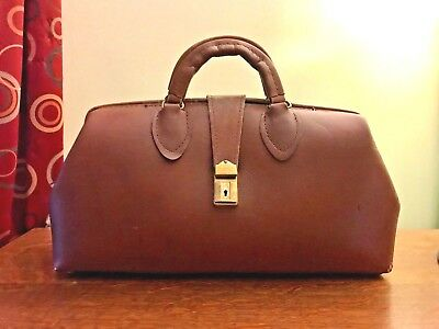 Vintage SCHELL Brown LEATHER Doctor Bag with Lock and 2 Keys - AWESOME Condition