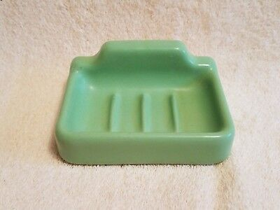 Vintage Jadeite Green Color Porcelain Wall Mount Soap Dish Nice Condition