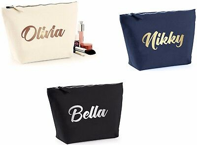 Personalised Make Up Bag Metal Print Case Wash Cosmetic  Wedding Pouch 3 Sizes