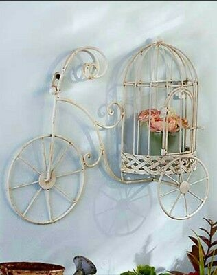 Vintage Look Metal White Bicycle Hanging Wall Art Sculpture Home Decor