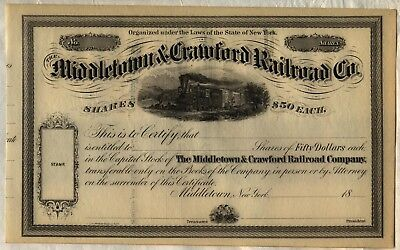 MIddletown & Crawford Railroad Co. Stock Certificate New York