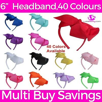 "✭ 6"" Inch Extra Large Bright Hair Bow Headband Alice Band ✭ UK Stock ✭ 40 Colour"