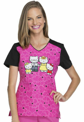 f5b582e83be Tooniforms by Cherokee V-Neck Top in Hello Kitty Family TF624 HKIL Sizes XS-