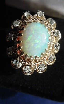 Vintage Custom 14K Yellow Gold Opal & Diamond Statement Ring, size 7 1/4
