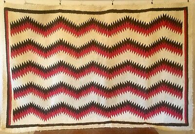 Very Old Large Navajo Rug Weaving Geometric Zigzag 70x46 In.