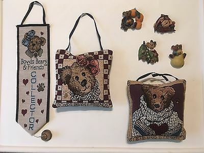 Boyds Bears 7 Item Fridgewear, Tapestry Pillow & Bell Pull Collection