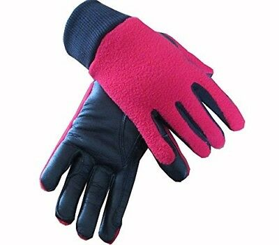 (Red, Large) - Childrens Leather Fleece Backed Winter Horse Riding Gloves