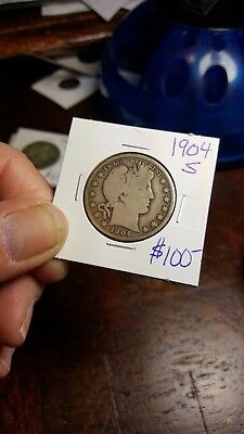 1904-S Barber Half Dollar-NICE RIMS-low mintage-low grade BUT choice was $89