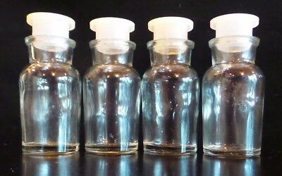 Vintage T. C. Wheaton Clear Glass Apothecary Medicine Spice Bottles set of 4