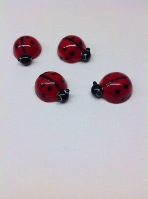 4 Miniature Blown Glass Red Ladybugs Statue Cute Figurine Collectibles Decor
