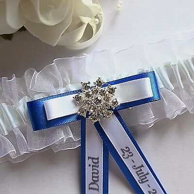 Personalised White Bridal Garters. Diamante & Choice Of Trim Colour. Gift Boxed
