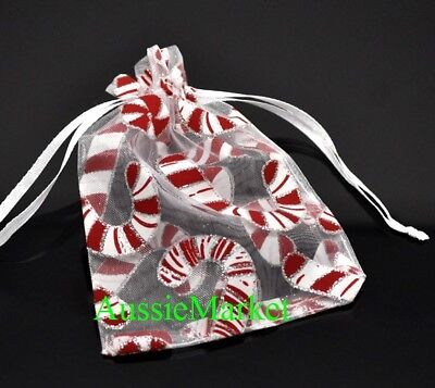 10 x christmas organza gift bags pouch xmas candy cane glitter stocking filler