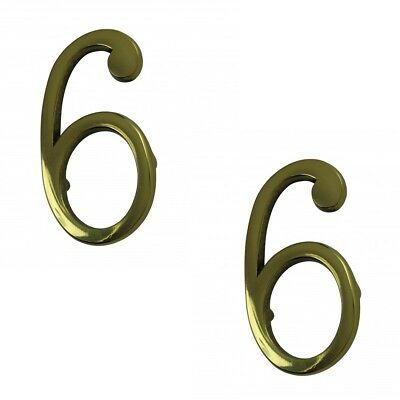 """Bright Solid Brass 3"""" Address House Number '6' '9' Pin Mount Pack of 2"""