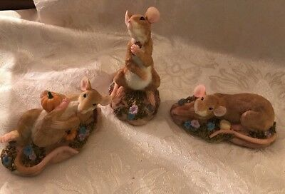 """Lot of Three Resin Mouse Figurines 5"""""""