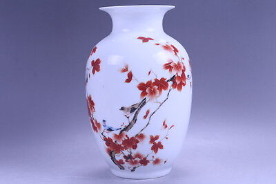 Exquisite chinese painting birds porcelain Vase QIANLONG mark HP198