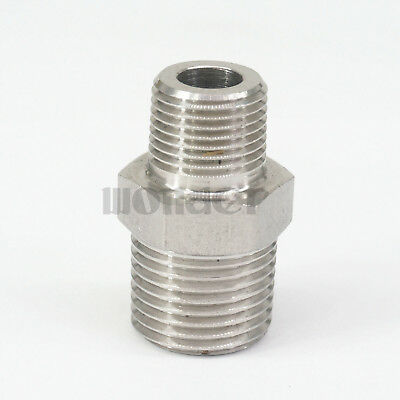 """3/8"""" BSP Male to 1/2"""" BSP Male 304 Stainless Steel Pipe Fittings Connectors"""