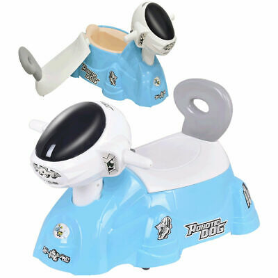 Kids Baby Potty Training Toilet Trainer Seat with Music Slide Function Blue Dog