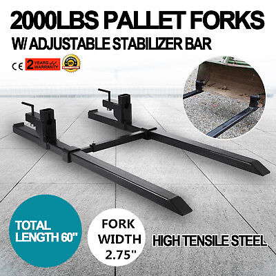 """43"""" Clamp on Pallet Forks w/ Stabilizer Bar 2000lb Heavy duty HD Chain holes"""