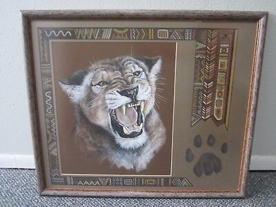 RARE Vintage Native American Indian Art Painting - Cougar by K. HUTSON, ORIGINAL