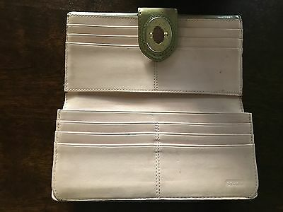 Gold Patent leather Turn Lock Coach Wallet ;interior light pink