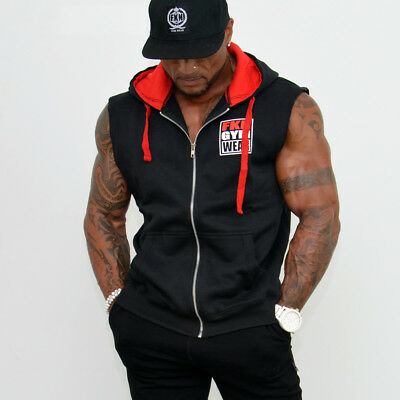 New  FKN GYM Wear 'Gun Smuggler' Sleeveless Hoodie – Black