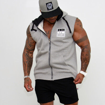 New  FKN GYM Wear 'Gun Smuggler' Sleeveless Hoodie - Grey